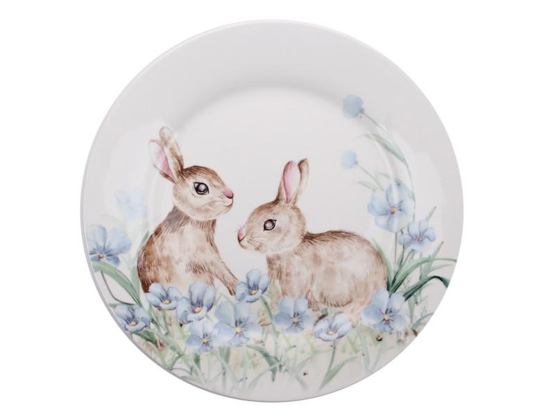 Велика тарілка Пасхальні кролики 25см