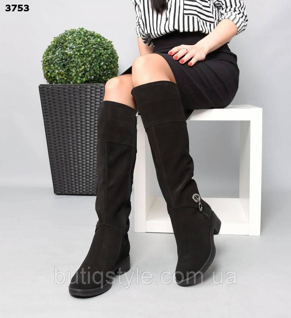 Зимові чорні чоботи натуральна замша Еврозима