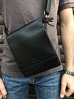 Сумка через плечо мужская городская кожзам черная, фото 1