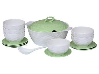 Набор посуды для супа Зара белый+салатовый 15пр