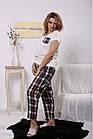 Домашний костюм женский: белая футболка и штаны в клетку большого размера 42-74. 01660-1, фото 2