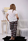 Домашний костюм женский: белая футболка и штаны в клетку большого размера 42-74. 01660-1, фото 4