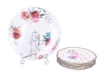 Набор фарфоровых тарелок и стеклянное блюдо Lefard Камелия 210х6шт+265мм