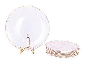 Набор фарфоровых тарелок и стеклянное блюдо Lefard Виллари 210х6шт+265мм