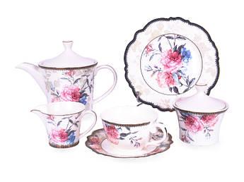 Фарфоровый чайно столовый набор Lefard Камелия 220мл/21см 21пр