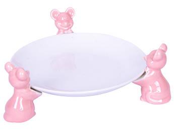 Блюдо розовые мышки 16см