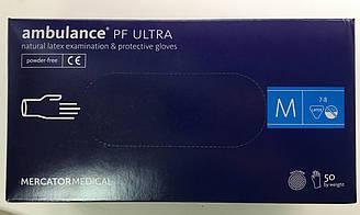 Перчатки плотные латексные удлиненные Ambulance PF ultra размер M (7-8) 25 пар