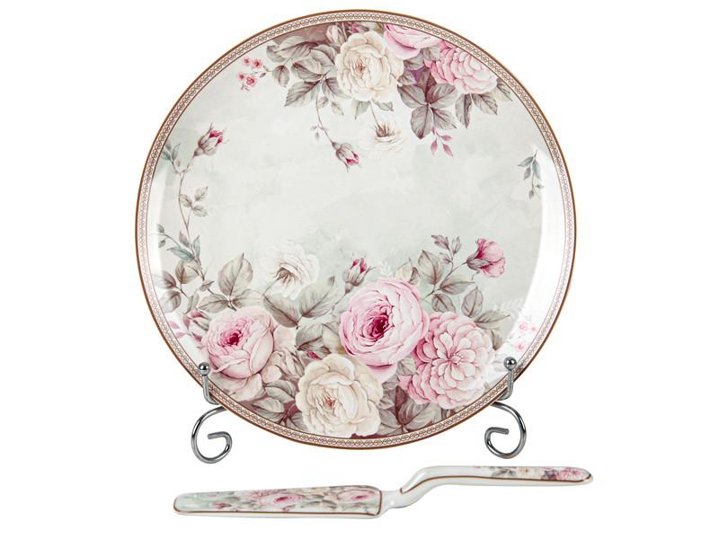 Блюдо с лопаткой для торта Английская роза 27см