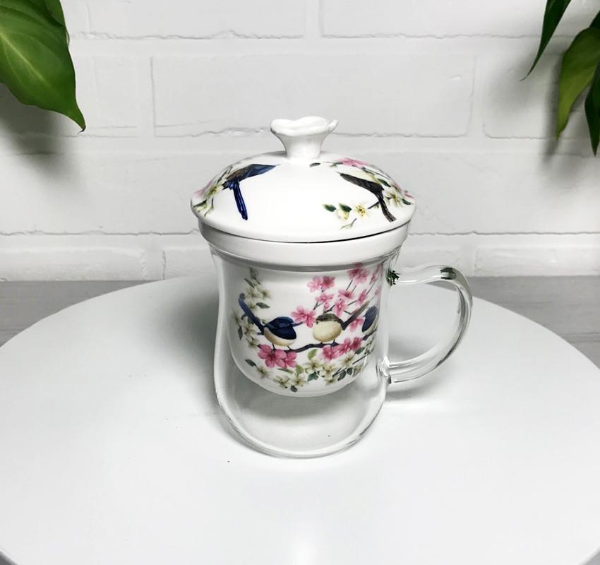 Скляна заварочная чашка з керамічним фільтром Lefard Птиці на сакурі 400мл