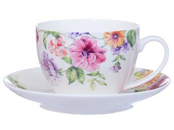 Чашка с блюдцем с цветами 2пр