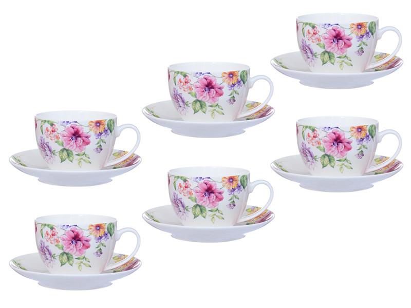 Чашки с блюдцами с цветами 12пр