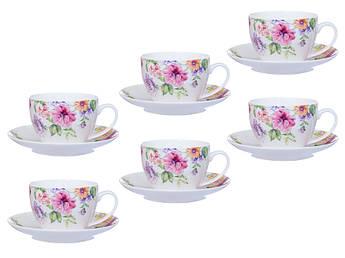 Чашки з блюдцями з квітами 12пр