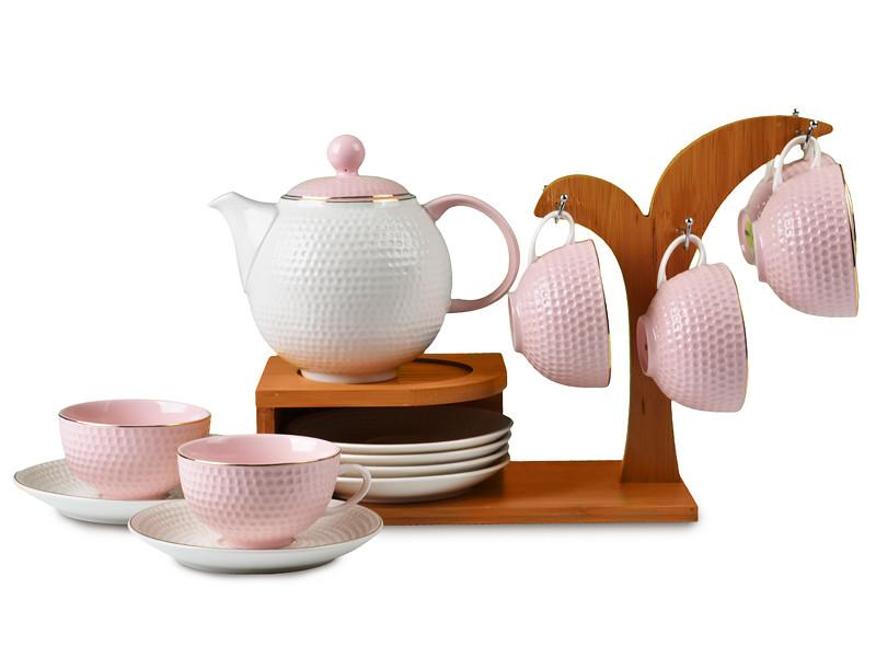 Чайный сервиз на бамбуковой подставке Зара розовый 14пр