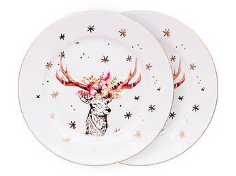 Новогодние тарелки с оленем 19см 2шт