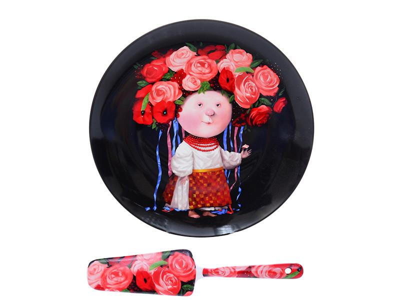 Блюдо с лопаткой украинка в венке Гапчинская Gapchinska 26см 2пр
