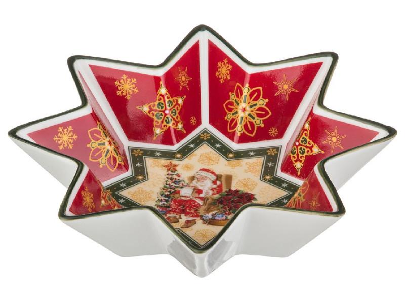 Салатник зірка новорічний з сантою 17см