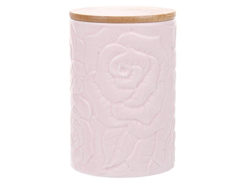 Керамическая банка для сыпучих Lefard с деревянной крышкой розовая 15см 940-248