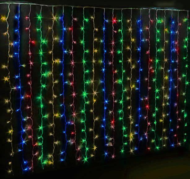 Гірлянда штора-водоспад, прозорий шнур, 2*2 м, 240 LED з перехідником