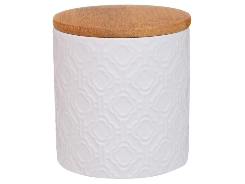 Белая банка с бамбуковой крышкой 11х10х10см