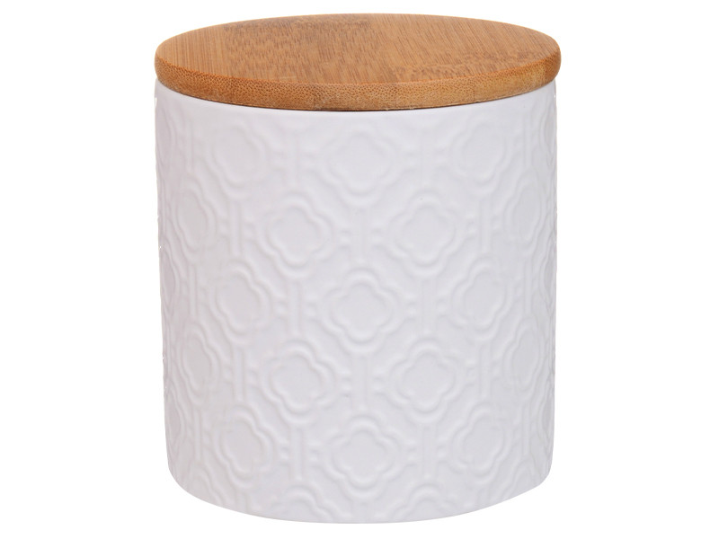 Біла банку з бамбуковою кришкою 11х10х10см