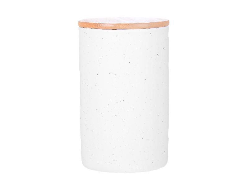 Біла ємність з бамбуковою кришкою 17х10х10см