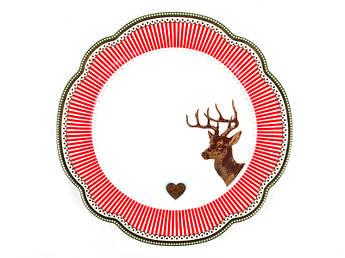 Тарелка с красной полоской по краю 19см