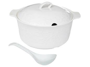 Белая фарфоровая супница Лимож 33см