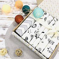 Подарочный набор пеленок Lukoshkino ® нейтральный черно-белый №3