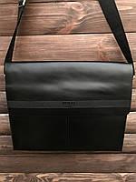 Деловая офисная сумка через плечо мужская черная, фото 1