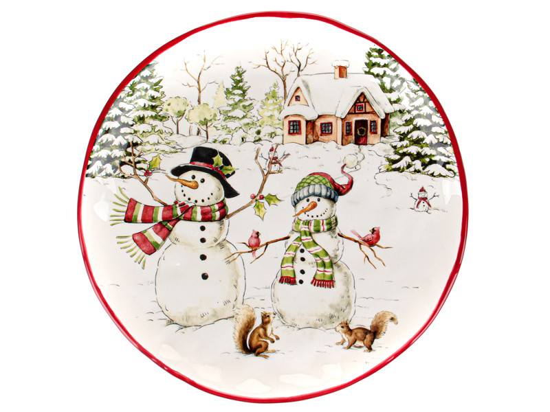 Новогодние подарки посуда Новогоднее блюдо Снеговик 26см 948-003