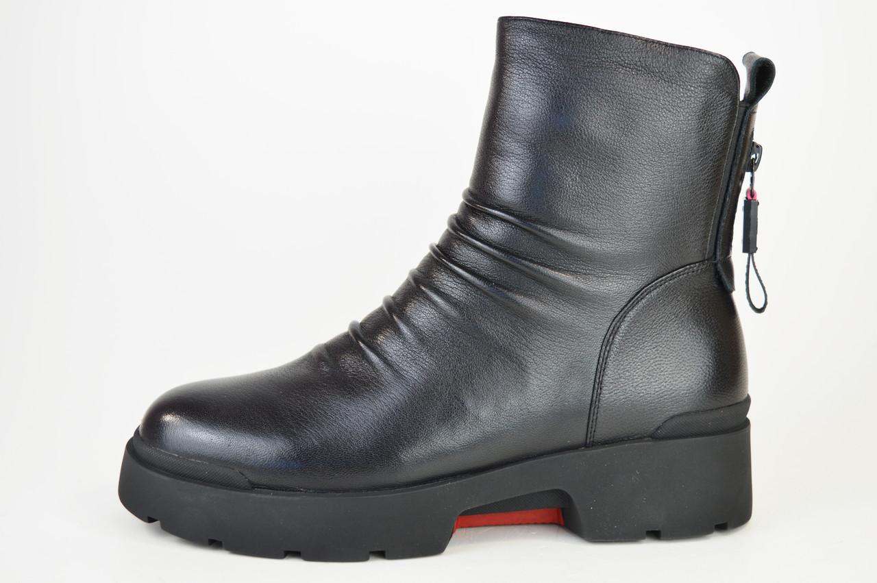 Ботинки зимние цигейка Geronea 9911100 Черные кожа