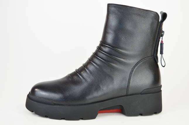 Ботинки зимние цигейка Geronea 9911100 Черные кожа, фото 2