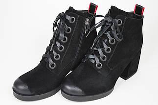 Ботинки на каблуке Geronea 5077733 Черные замша, фото 3