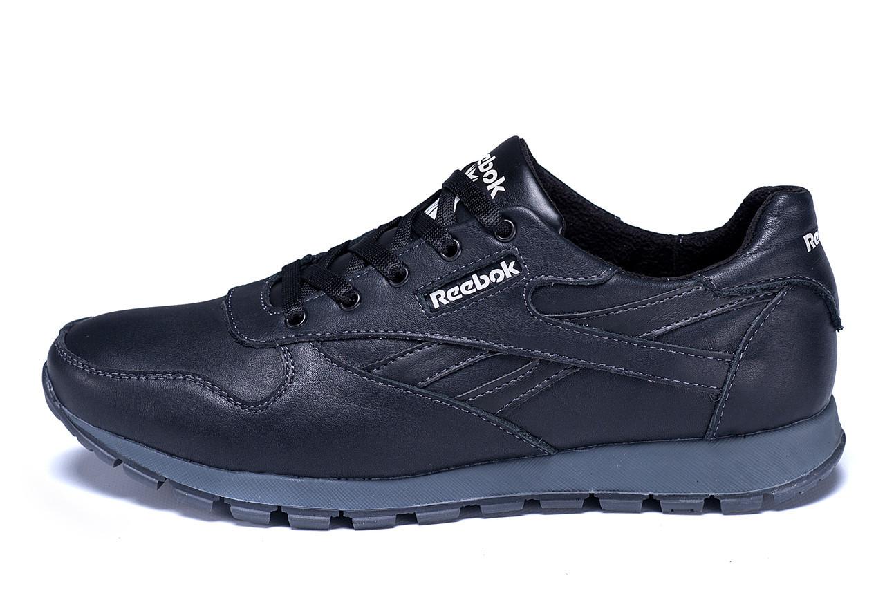 Мужские зимние кожаные кроссовки Classic Black р. 40 41