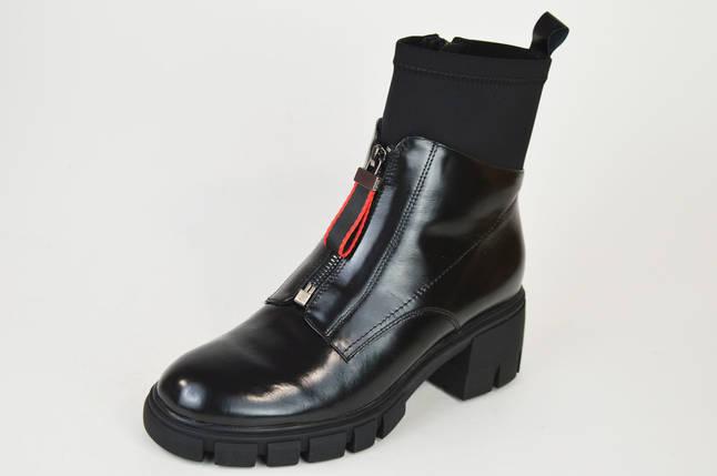 Ботинки на каблуке Geronea 31218 кожа/масло черные цигейка, фото 2
