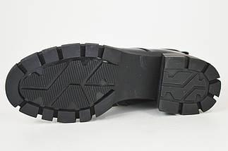 Ботинки на каблуке Geronea 31218 кожа/масло черные цигейка, фото 3