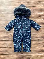 Совмесный теплый  зимний комбинезон для мальчика с овчиной  на рост с 80 см до  104 см
