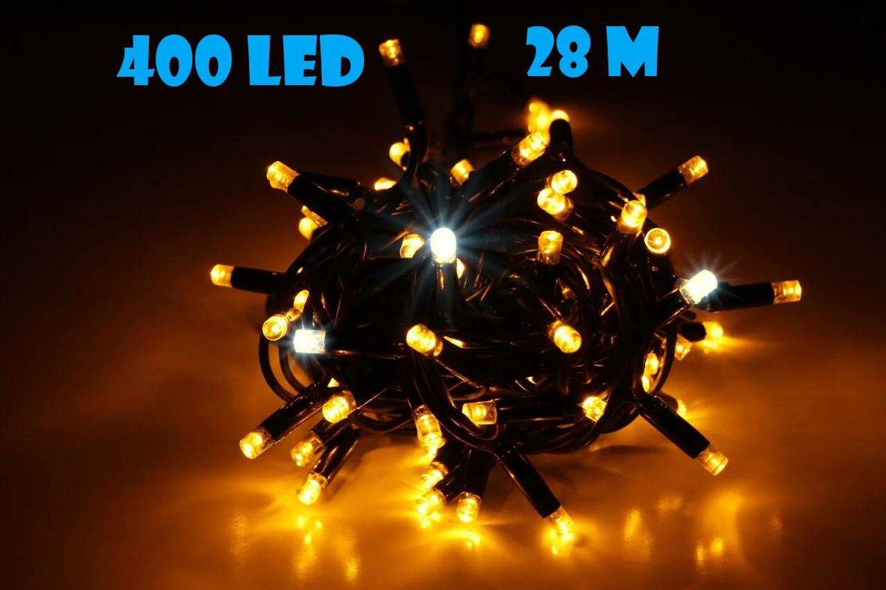 Новогодняя гирлянда нить Xmas 400 LED ламп желтого свечения (черный провод, 28 метров)