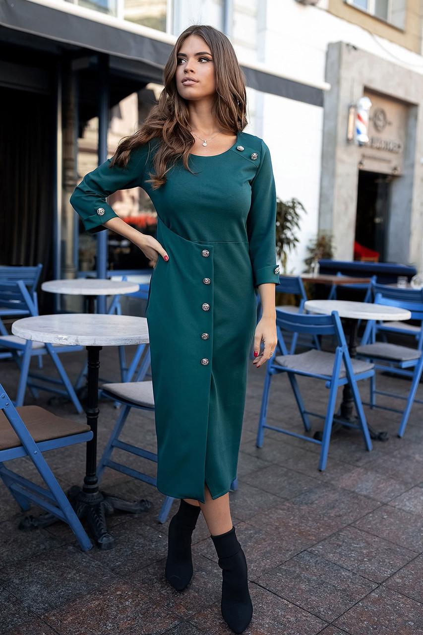 Строгое Платье миди зеленое