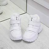 Удобные молодежные белые зимние женские черные кроссовки на липучках, фото 3