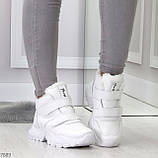 Удобные молодежные белые зимние женские черные кроссовки на липучках, фото 5