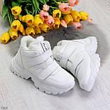 Удобные молодежные белые зимние женские черные кроссовки на липучках, фото 7