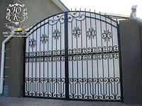 """Распашные кованые ворота с белым поликарбонатом """"стандарт класс"""""""