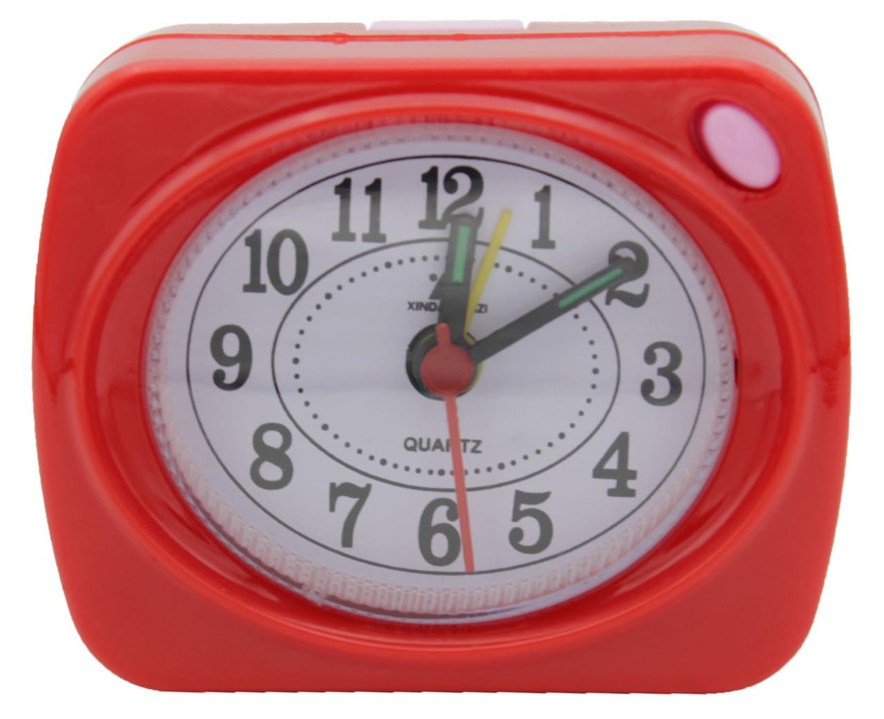 """Часы будильник QUARTZ с подсветкой на 1 R6 """"пальчиковой"""" батарейке 504"""