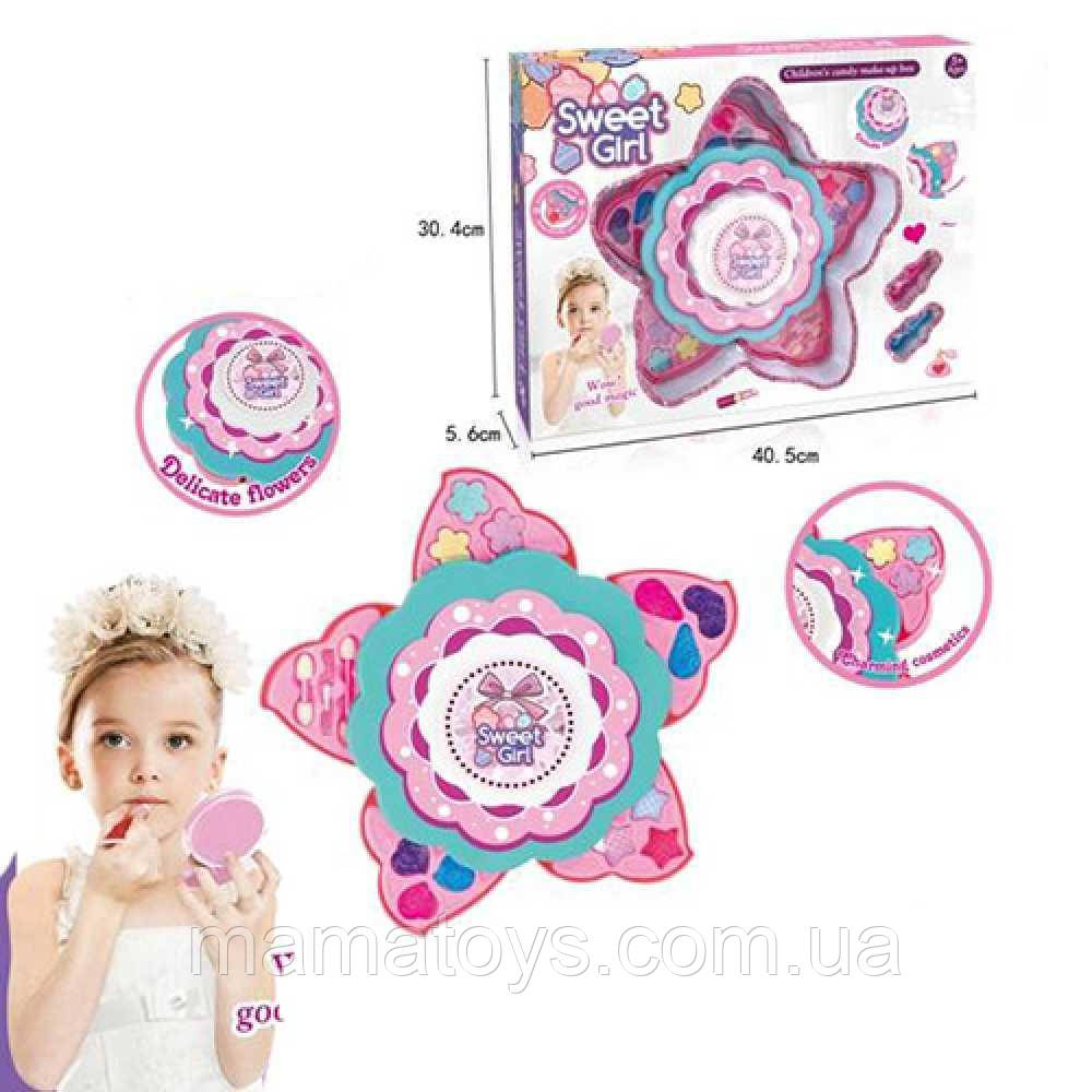 Детская декоративная косметика 6005 Цветок, 2 яруса, тени, помада, кисточки, лак