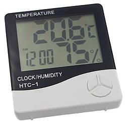 Цифровий термометр-гігрометр HTC-1 з вимірюванням вологості і годин
