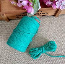 Шнур джутовый, 2 мм,  длина 5 м, цвет бирюзовый