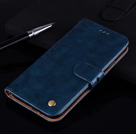Чехол - книжка для Xiaomi Redmi 9A с силиконовым бампером и отделением для карточек Цвет Синий
