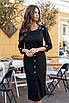 Черное строгое Платье миди, фото 2