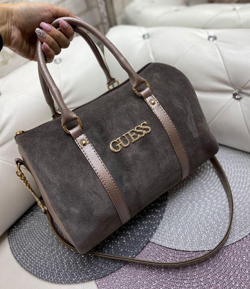 Замшевая вместительная женская сумка бочонок саквояж стильная городская бронзовая натуральная замша+кожзам